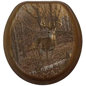 Comfort Seats C1B2R1-780 -17AB Great Eight Deer Round Oak Toilet Seat, Antique Brass