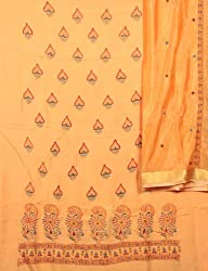 Exotic India Pumpkin Orange Salwar Kameez Fabric with Lukhnavi Chikan E - Orange