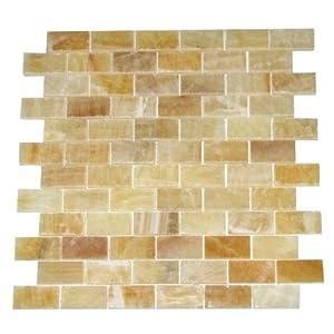 3x6 Brick Pattern Honey Onyx Polished Tiles Mosaics for Backsplash