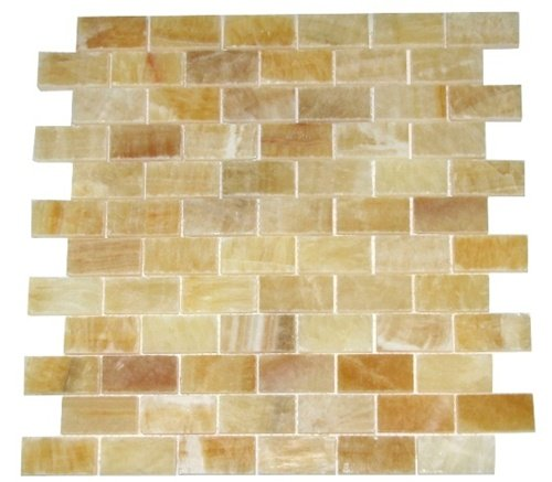 "Honey Onyx 1x2 Brick Pattern Polished Mosaics Meshed on 12"" X 12"" Tile for Backsplash, Shower Walls, Bathroom Floors"