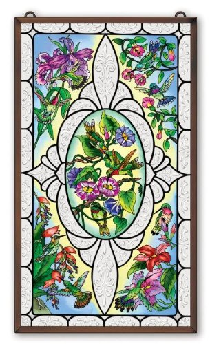 Hummingbird Stained Glass Window Panel Hand Painted