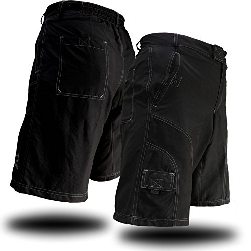 Men's Loose-Fit Padded Bike Shorts for Commuter Cycling or Mountain Biking (Large, Black) (Baggy Padded Cycling Shorts compare prices)
