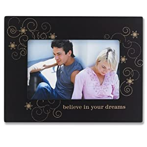 Lawrence Frames 4 by 6-Inch Walnut Wood Believe In Your Dreams Picture Frame