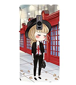 Fuson Premium Back Case Cover Cute office Girl With Black Background Degined For One Plus Two::One Plus 2::One+2