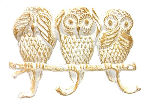 Cast Iron No Evil Owls Triple Wall Hook - Whitewash Finish - 8.75