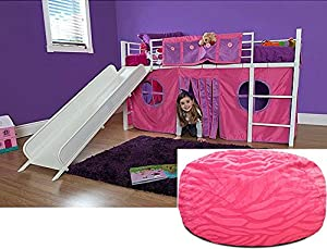 Girls Pink Twin Loft Bed with Slide and Bean Bag Bedroom Set - She will love this unique bundle Guaranteed. This childs high metal frame furniture has guardrails, ladder and storage or curtain playhouse underneath; also includes kids beanbag chair. by JJL