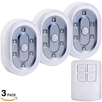 set of 3 led battery operated led under cabinet lighting kit 1 5w daylight led tap lights. Black Bedroom Furniture Sets. Home Design Ideas
