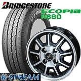 【アルミ付低燃費タイヤ4本セット】 BRIDGESTONE 145R12 8PR ECOPIA R680 12X4.00B 4穴 PCD:100 BahnsTech KStream