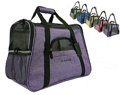 Mr. Peanut's Airline Approved Soft Sided Pet Carrier, Two-Tone Luxury Travel Tote with Fleece Bedding, New Design, Under Seat Collapsibility, Perfect for Cats and Small Dogs (Brilliant Purple)