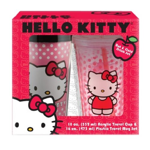 Vandor 18188 Hello Kitty 16 Oz Plastic Travel Mug And 18 Oz Acrylic Travel Cup With Lid And Straw Set, Pink front-316204
