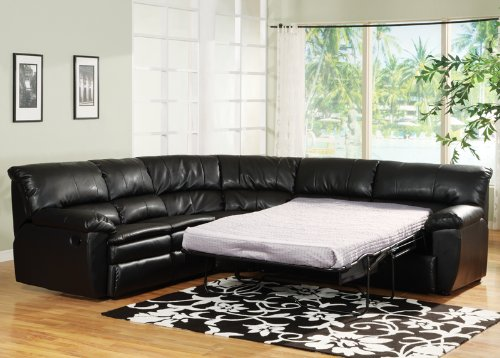 Black Leather Sectional Recliner u0026 Sleeper : sectional with recliner and sleeper - Sectionals, Sofas & Couches