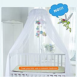 SALICO Cute Baby Mosquito Net Nursery Toddler Bed Crib Canopy Netting Hanging Ring with two mobile stands (White)