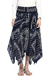 Grain Regular fit Dark Blue Pleated Cotton Skirt For Women
