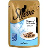 SHEBA Steamed and Tender Cat Pouch with Tuna in Gravy 85g (Pack of 12, Total 12 Pouches)