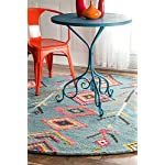 nuLOOM Bohemian Moroccan Diamond Turquoise Area Rugs, 6, Turquoise