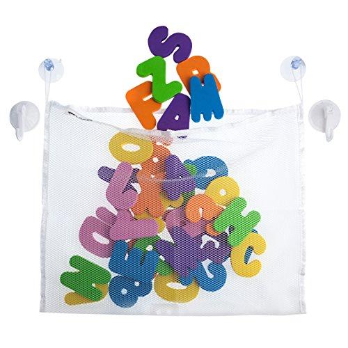 Premium TidyToyz Bath Mesh Toy Organizer Plus 36 Piece Foam Letters And Numbers Set