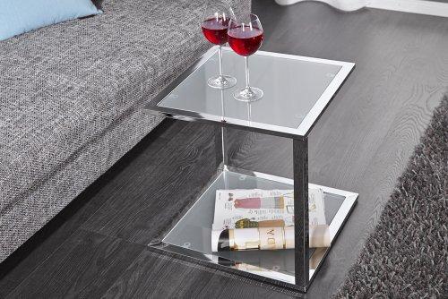 Invicta-Interior-Cubetto-Funktionaler-Beistelltisch-frosted-Glas-chrom-40-cm
