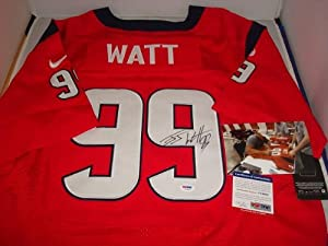 JJ Watt Signed Houston Texans Red Jersey, PSA DNA Authenticated, with picture signing