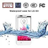(Surprised) Lg G3 Waterproof Case (Gift for Screen Protect Film and Clean Cloth) Full-body Protective Case Waterproof Shockproof Dustproof Snowproof Case Cover 6.6 Ft Underwater Durable Full Sealed Protection Water Resistant Hard Shell Full-body Protective (Stand Feature) (3 Months Warranty) Case Cover for Lg G3 (Do Not Fit for Lg G3 Mini) (LG G3 XLJ white)