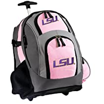 LSU Tigers Rolling Backpack Deluxe Pink LSU - Backpacks Bags with Wheels or School Trolley Carry-On Suitcase Bags - Unique Wheeled Gifts for Girls Ladies Women