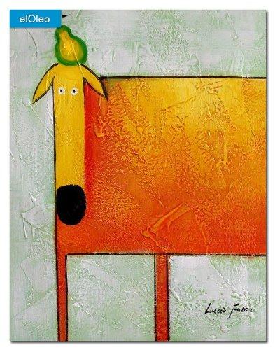 elOleo Pop Art – Der lustige gelbe Hund 50×40 Gemälde auf Leinwand handgemalt 83151A online bestellen