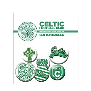 Celtic F.C. Button Badge Set- Button Badge Set- 6 x assorted size Badges- in a display bag- Official Football Merchandise by Badges