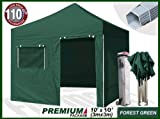 Eurmax Premium 3m x 3m Pop Up Gazebo Heavy Duty Marquee Folding Tent with Four Side Panels And Wheeled Carry Bag (Forest Green)