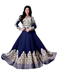 Lookslady Embroidered Blue Pure Georgette Thread & Stone Work Semi Stitched Anarkali Suit