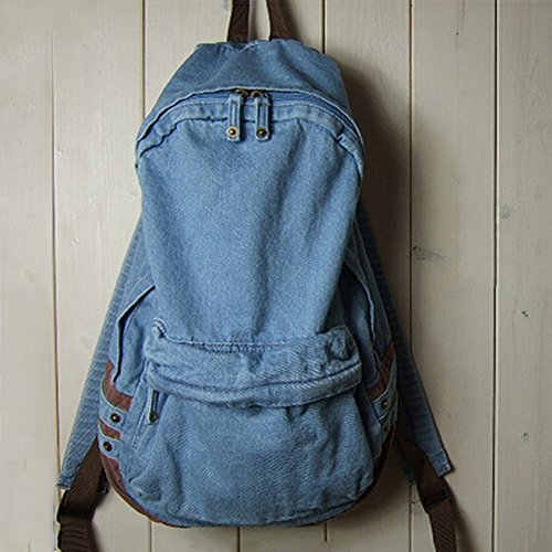 Men'S Women'S Vintage Denim Satchel Backpack Rucksack Shoulder School Bag