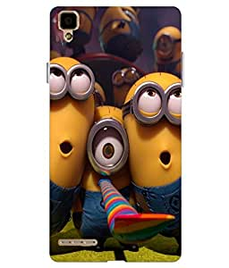 Make My Print Minions Printed Multicolor Hard Back Cover For Oppo F1 Selfie