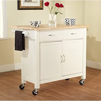 Marvelous Mobile Kitchen Island Storage Cabinet Cart White Red or Black White