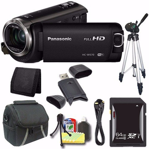 Panasonic HC-W570 HD Camcorder + 64GB SDXC Card + Tripod + Mini HDMI Cable + Case + Card Reader + Card Wallet Saver Bundle (Panasonic Sdxc 64gb compare prices)