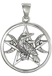 Sterling Silver Raven Triple Moon Wiccan Pentacle Pendant Jewelry