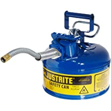 "Justrite AccuFlow 7210320 Type II Galvanized Steel Safety Can with 5/8"" Flexible Spout, 1 Gallon Capacity, Blue"