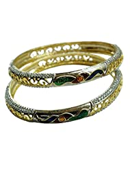 Sheetal Jewellery Silver & Golden Brass & Alloy Bangle Set For Women