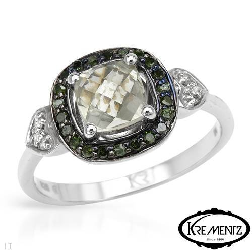 KREMENTZ Majestic Heart Ring With 1.10ctw Precious Stones - Genuine Amethyst, Diamonds in 925 Sterling silver (Size 8)