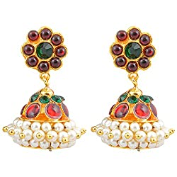 Gold finish red and green colored kempu stones Jhumki(Small)
