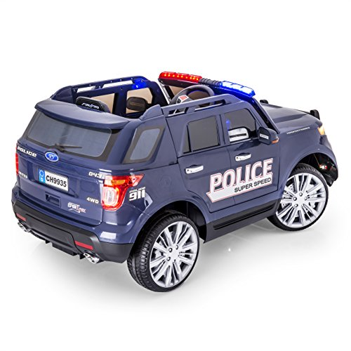 sportrax ford explorer style police kids ride on car battery powered remote control wfree mp3 player blue
