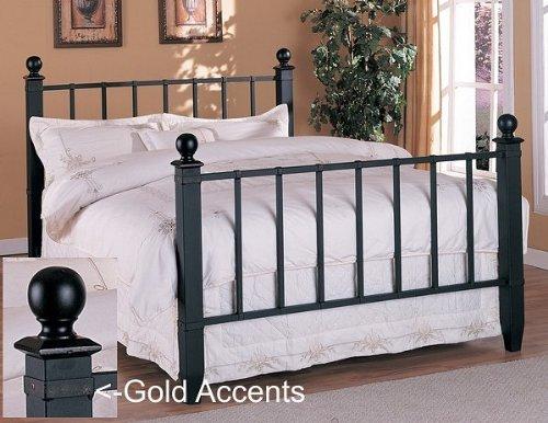 Queen Size Black Metal Bed Headboard & Footboard