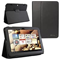 Evecase SlimBook Leather Folio Stand Case Cover For Lenovo IdeaTab A2109 9'' / 9-inch Android Tablet - Balck