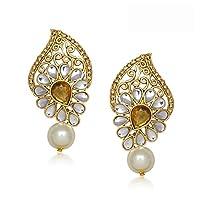 Meenaz Gold Pearl Daimond Dangle & Drop Earrings For Women