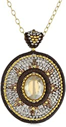 Miguel Ases Leather and Swarovski Long Pendant Necklace