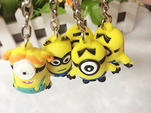 2015 New Anime Brinquedos Minions Toys Cartoon Movie Despicable Me 2 3D Mini Minion Keychains PVC Action Figure Toys Wholesale