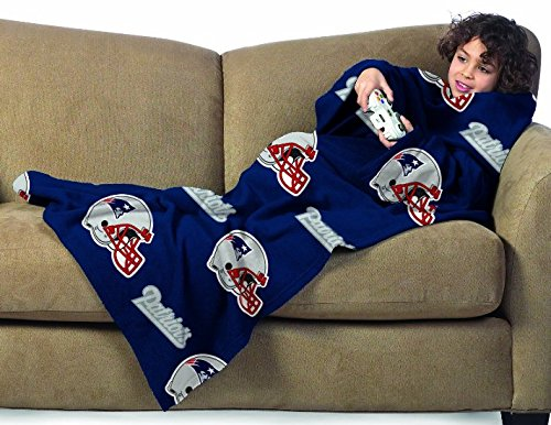 NFL New England Patriots Youth Size Comfy Throw Blanket with Sleeves