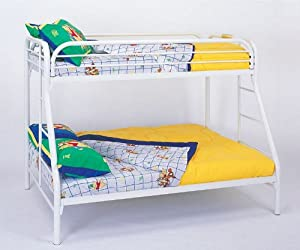 Twin Full Size Metal Bunk Bed with Double Ladders in White Finish by Coaster