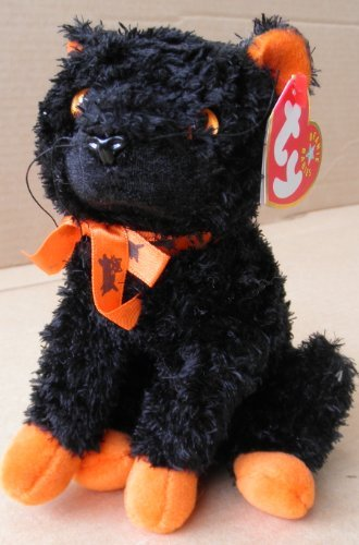 TY Beanie Babies Fraidy the Cat Stuffed Animal Plush Toy - 6 inches tall - Black with Orange Paws and Eyes by Smartbuy - 1