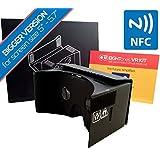 Gafas de Realidad Virtual EightOnes VR Kit XL, versión mas grande, de cartón con: NFC, contenido exclusivo y correa de cabeza, negro jet