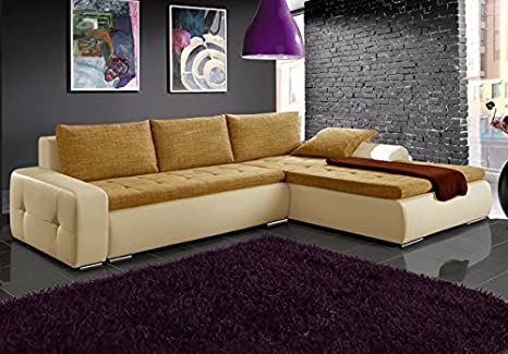 MAX beige and brown faux leather and fabric large corner sofa bed couch with storage sleeping area living room furniture