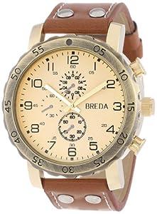 Breda Men's 1635-H Steve Oversized Industrial Stud Leather Watch