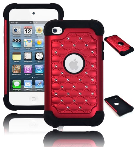 Bastex Heavy Duty Hybrid Case For Touch 4, 4Th Generation Ipod - Black Silicone Red Diamond Crystal Bling front-629720